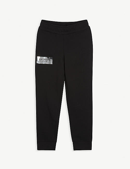 BALMAIN: Logo-embellished cotton jogging bottoms 4-16 years