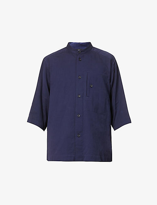 ISSEY MIYAKE: Mandarin-collar relaxed-fit cotton shirt