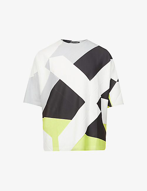 ISSEY MIYAKE: Graphic-print relaxed-fit cotton-blend T-shirt