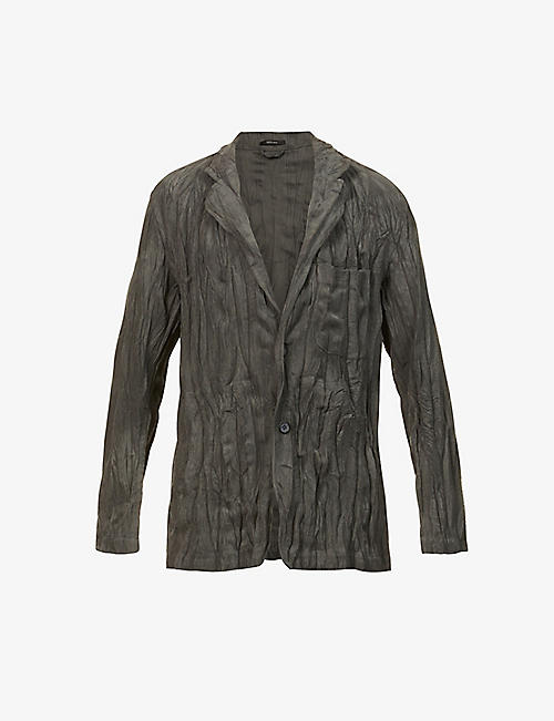 ISSEY MIYAKE: Twist high-neck crinkled corduroy jacket