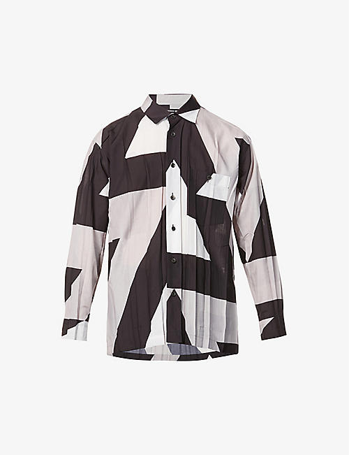 ISSEY MIYAKE: Graphic-print relaxed-fit crepe shirt