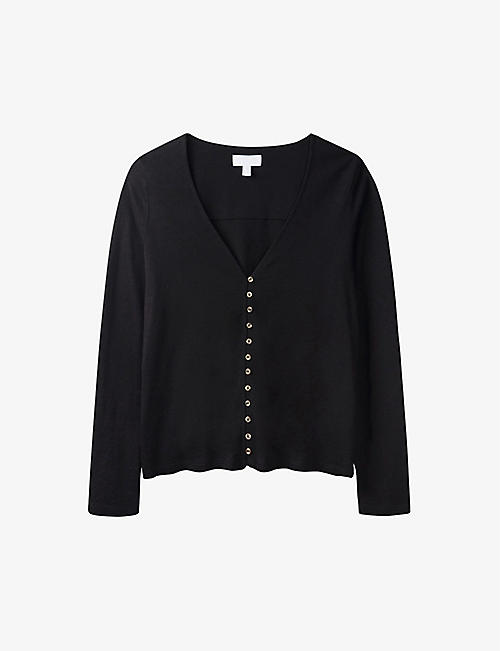 THE WHITE COMPANY: Jersey button through long sleeve T- Shirt