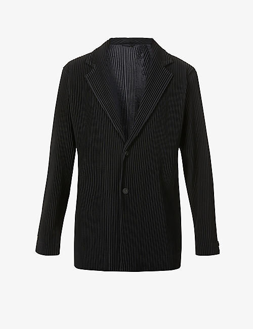 HOMME PLISSE ISSEY MIYAKE: Pleated single-breasted woven jacket