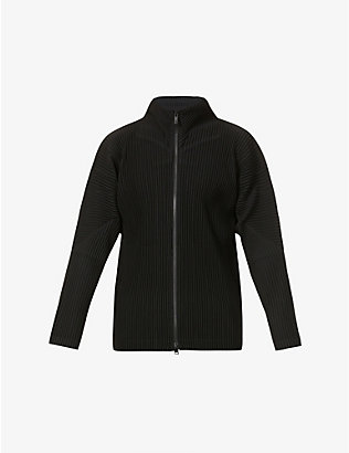 HOMME PLISSE ISSEY MIYAKE: Pleated funnel-neck woven jacket