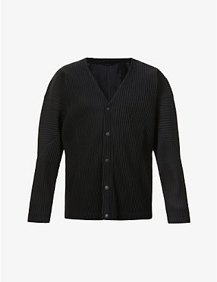 HOMME PLISSE ISSEY MIYAKE: Pleated V-neck woven cardigan