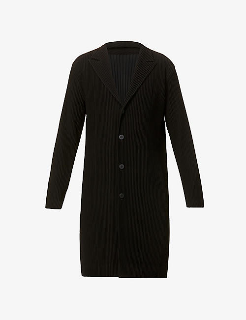 HOMME PLISSE ISSEY MIYAKE: Single-breasted pleated woven overcoat