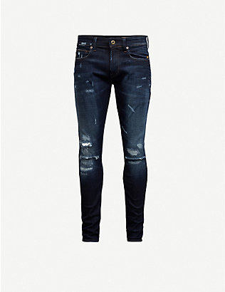 G-STAR: Lancet distressed skinny stretch-denim jeans
