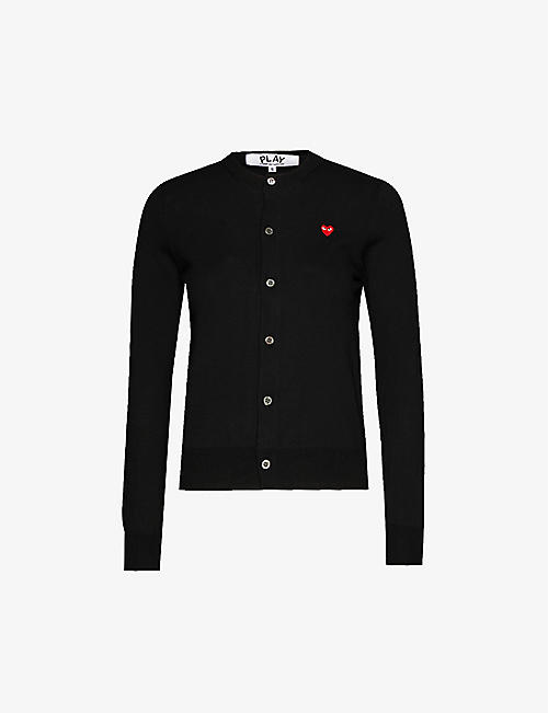 COMME DES GARCONS PLAY: Heart-embroidered cotton-knit cardigan