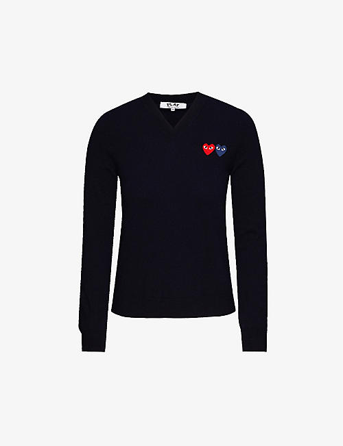 COMME DES GARCONS PLAY: Branded V-neck wool jumper