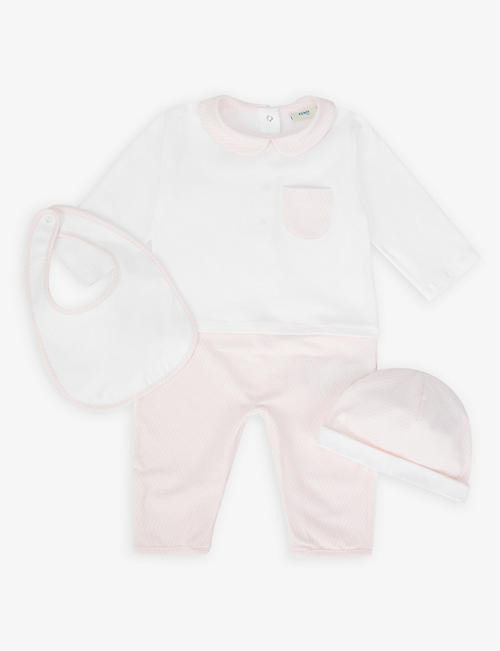 FENDI: Stretch-cotton baby grow and bib set
