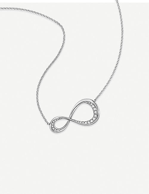 VASHI Infinity Pave diamond and 9k white-gold pendant necklace