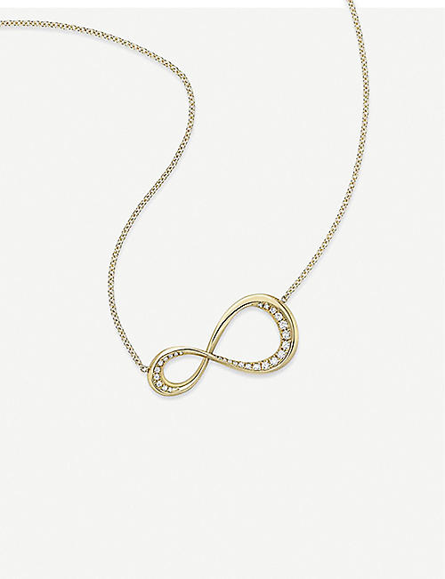 VASHI Pave Infinity 9k yellow-gold and diamond pendant necklace