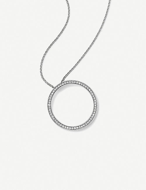 VASHI Circle 18k white-gold and diamond pendant necklace