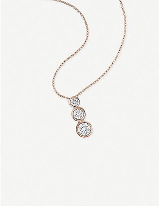 VASHI: 18k rose-gold and 0.5ct diamond pendant necklace
