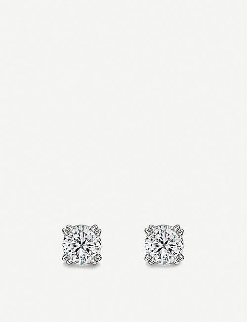 VASHI: Solitaire diamond and 18k white-gold earrings