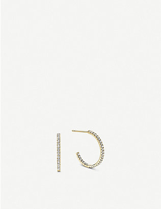 VASHI: Pave diamond and 18k yellow-gold hoop earrings