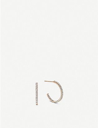 VASHI: Pave diamond and 18k rose-gold hoop earrings