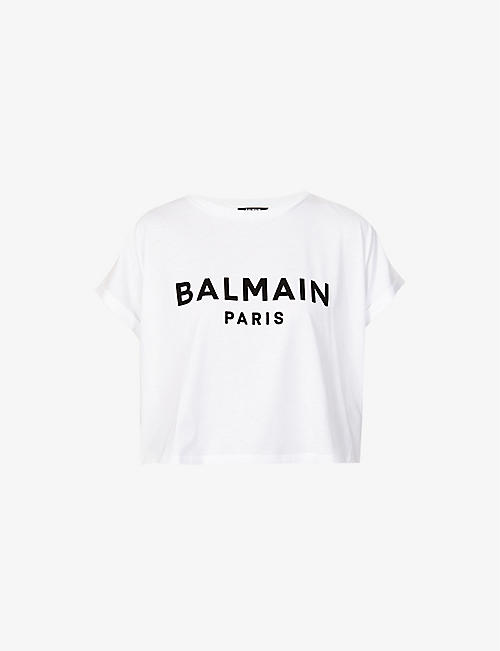 BALMAIN: Flocked logo cotton-jersey T-shirt
