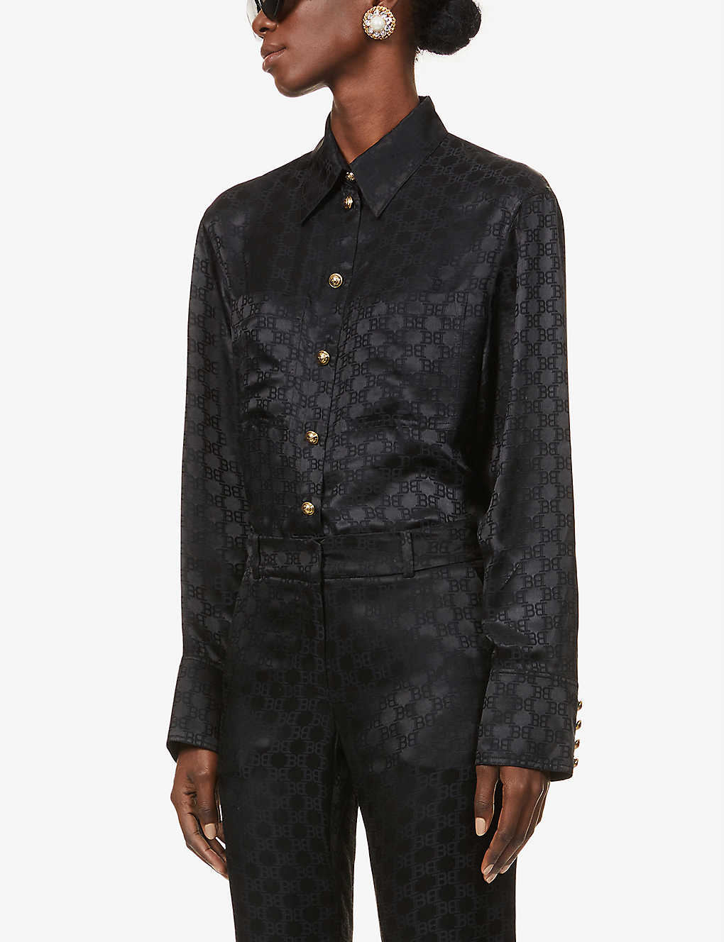 BALMAIN: Monogram silk-blend shirt