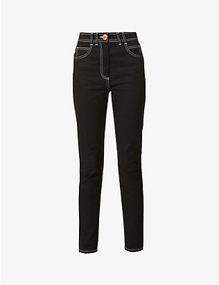 BALMAIN: Logo-embroidered skinny high-rise stretch-denim jeans