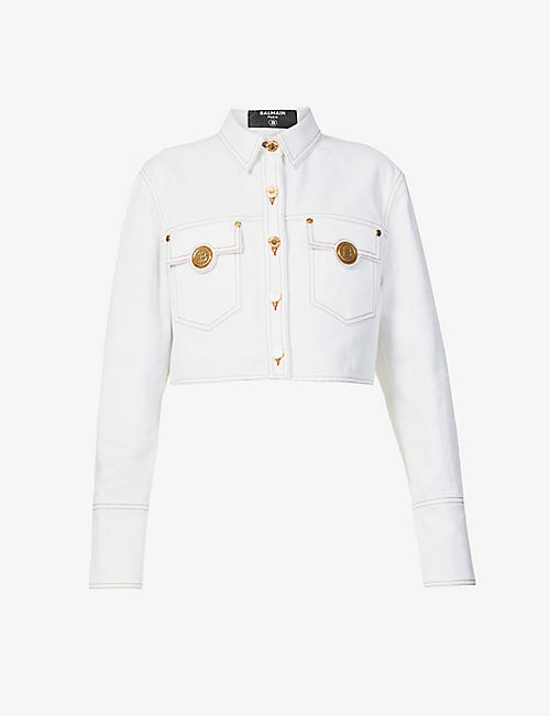 BALMAIN: Button-embellished cropped stretch-denim jacket