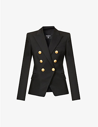 BALMAIN: Double-breasted button-embellished wool blazer