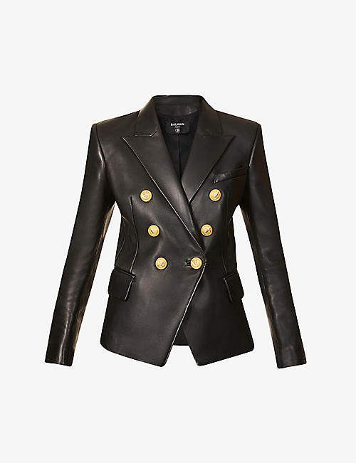 BALMAIN: Double-breasted leather blazer