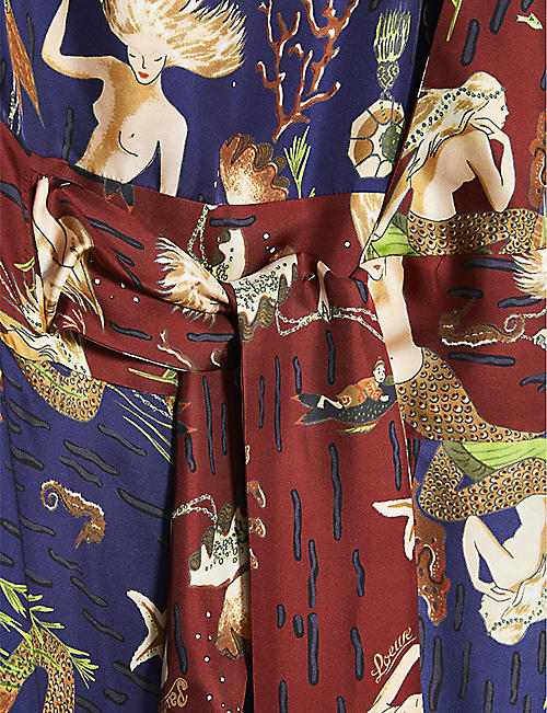 LOEWE Loewe x Paula's asymmetric knotted mermaid-print silk midi dress