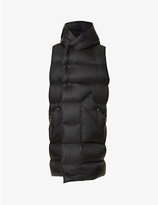RICK OWENS: Padded sleeveless shell-down gilet