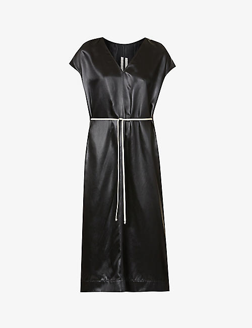 RICK OWENS: Island drawstring-waist faux-leather midi dress