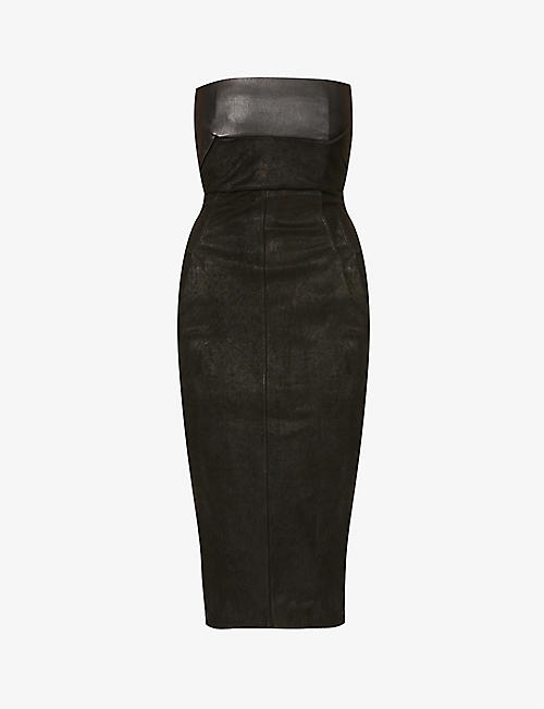 RICK OWENS: Bustier leather-blend midi dress