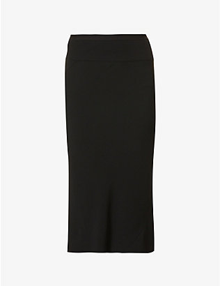 RICK OWENS: High-waisted crepe midi skirt