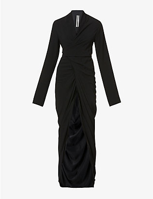 RICK OWENS: V-neck long-sleeved crepe maxi dress