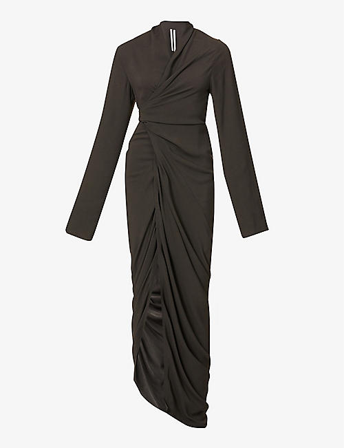 RICK OWENS: Wrap-over V-neck crepe maxi dress