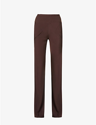 RICK OWENS: Ribbed wide-leg high-rise crepe-silk trousers