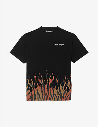 PALM ANGELS: Flame-print cotton-jersey T-shirt