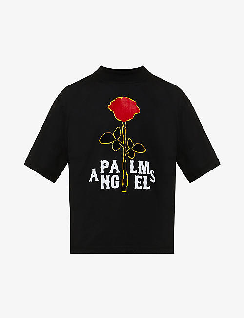 PALM ANGELS: Rose-print funnel-neck cotton-jersey T-shirt