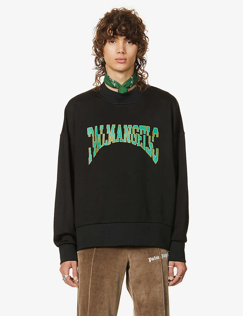 PALM ANGELS: Logo-print jersey sweatshirt