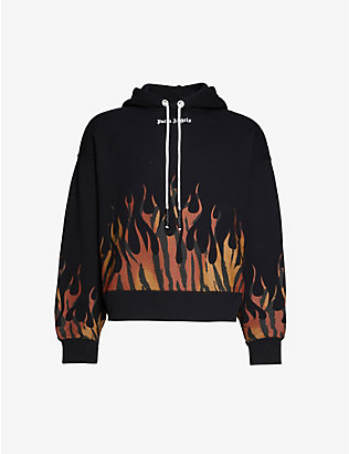 PALM ANGELS: Tiger-print-flames cotton-jersey hoody