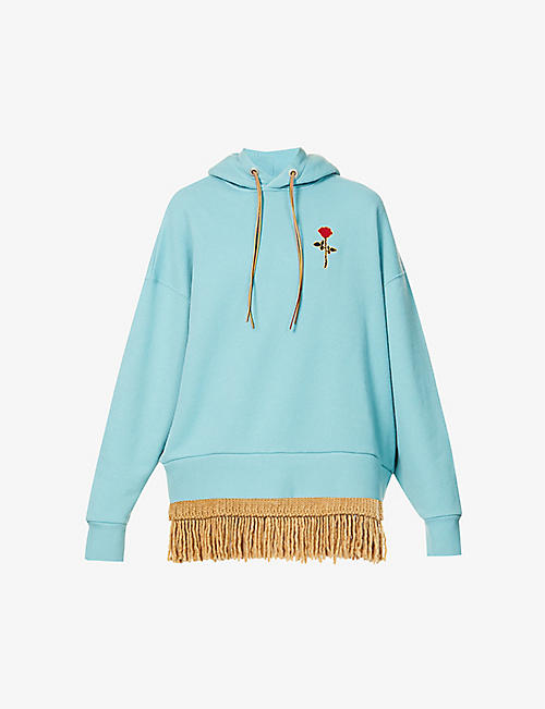 PALM ANGELS: Rose-embroidered fringe cotton and wool-blend hoody