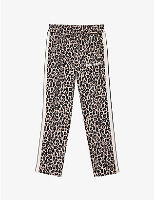PALM ANGELS: Leopard-print velour tracksuit bottoms