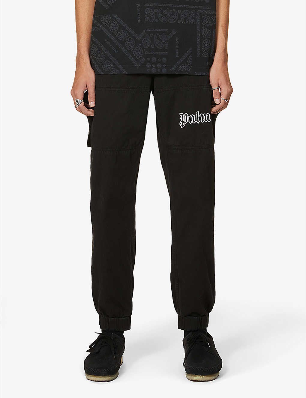 PALM ANGELS: Logo-embroidered srtraight cotton-twill trousers