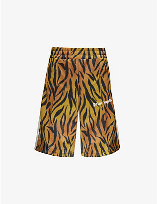 PALM ANGELS: Tiger-print woven track shorts