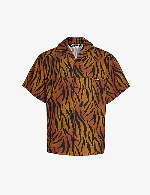 PALM ANGELS: Tiger-print cotton-poplin shirt