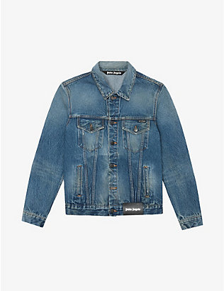 PALM ANGELS: Logo-print faded denim jacket