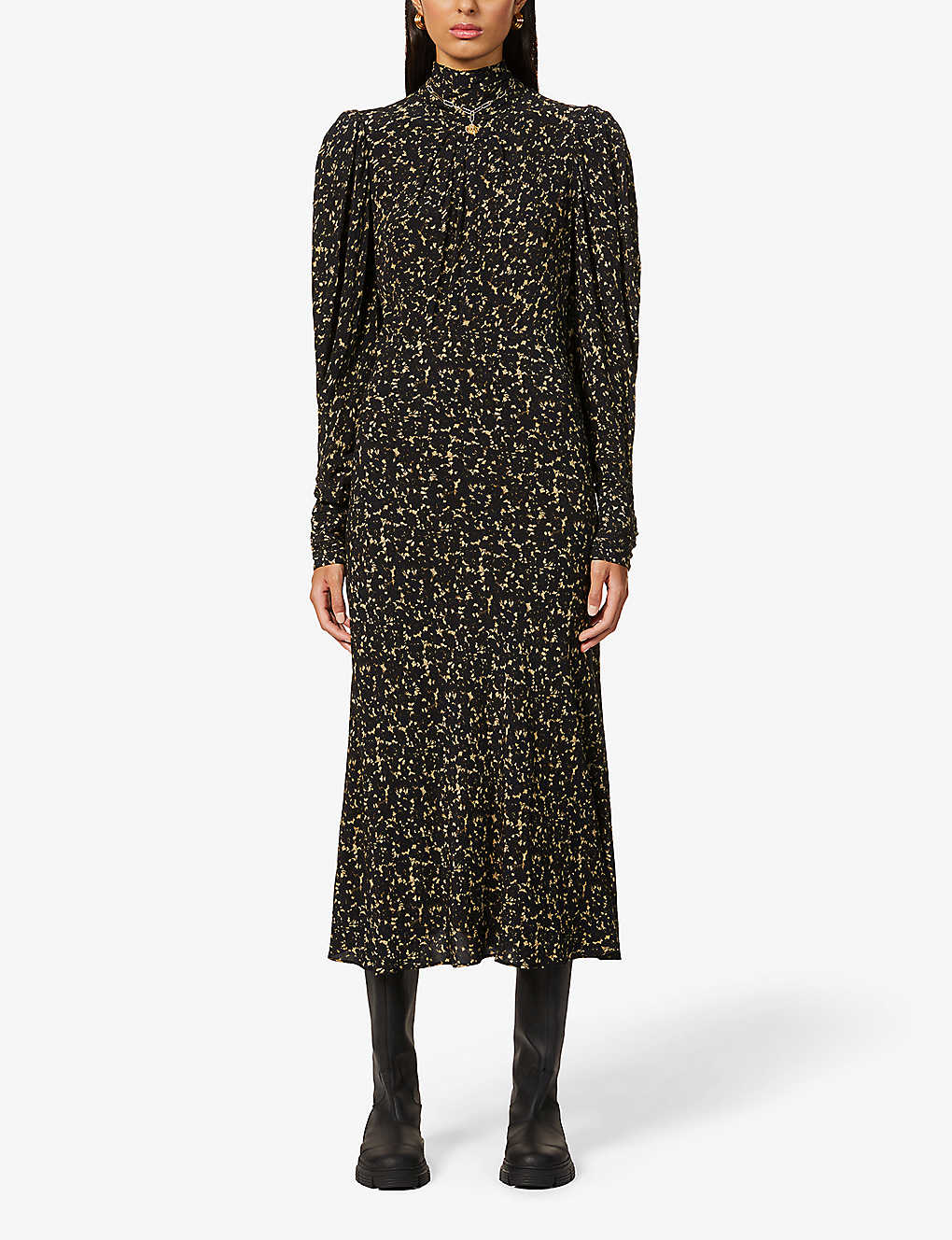 BA&SH: Emilie high-neck graphic-print crepe midi dress