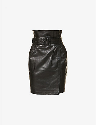 BA&SH: Fidji paper-bag high-waist leather midi skirt