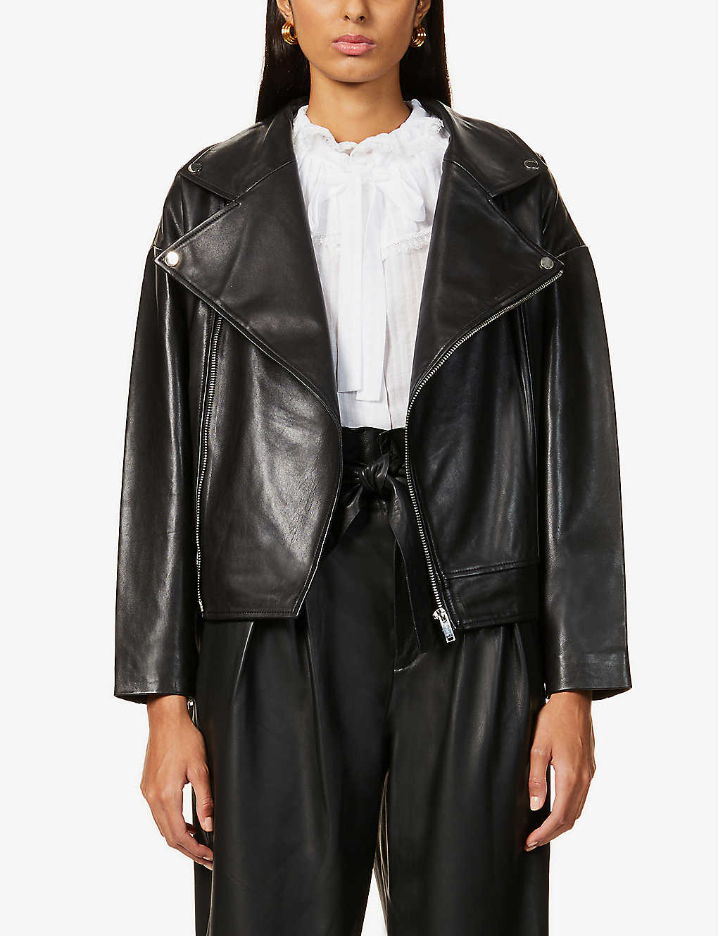 BA&SH: Keith high-neck leather jacket