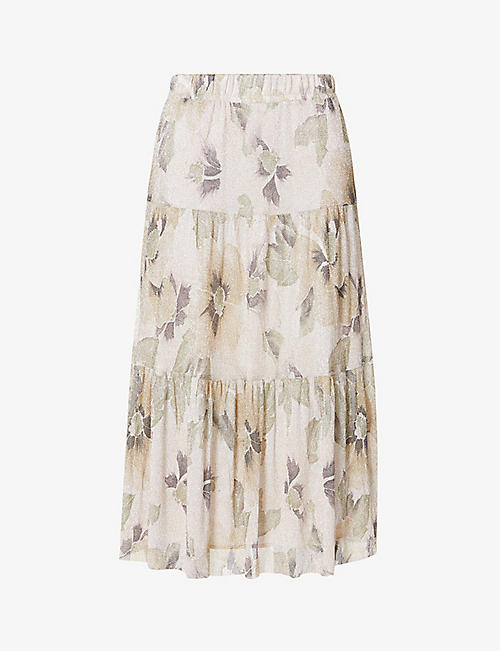 BA&SH: Land floral-print woven midi skirt