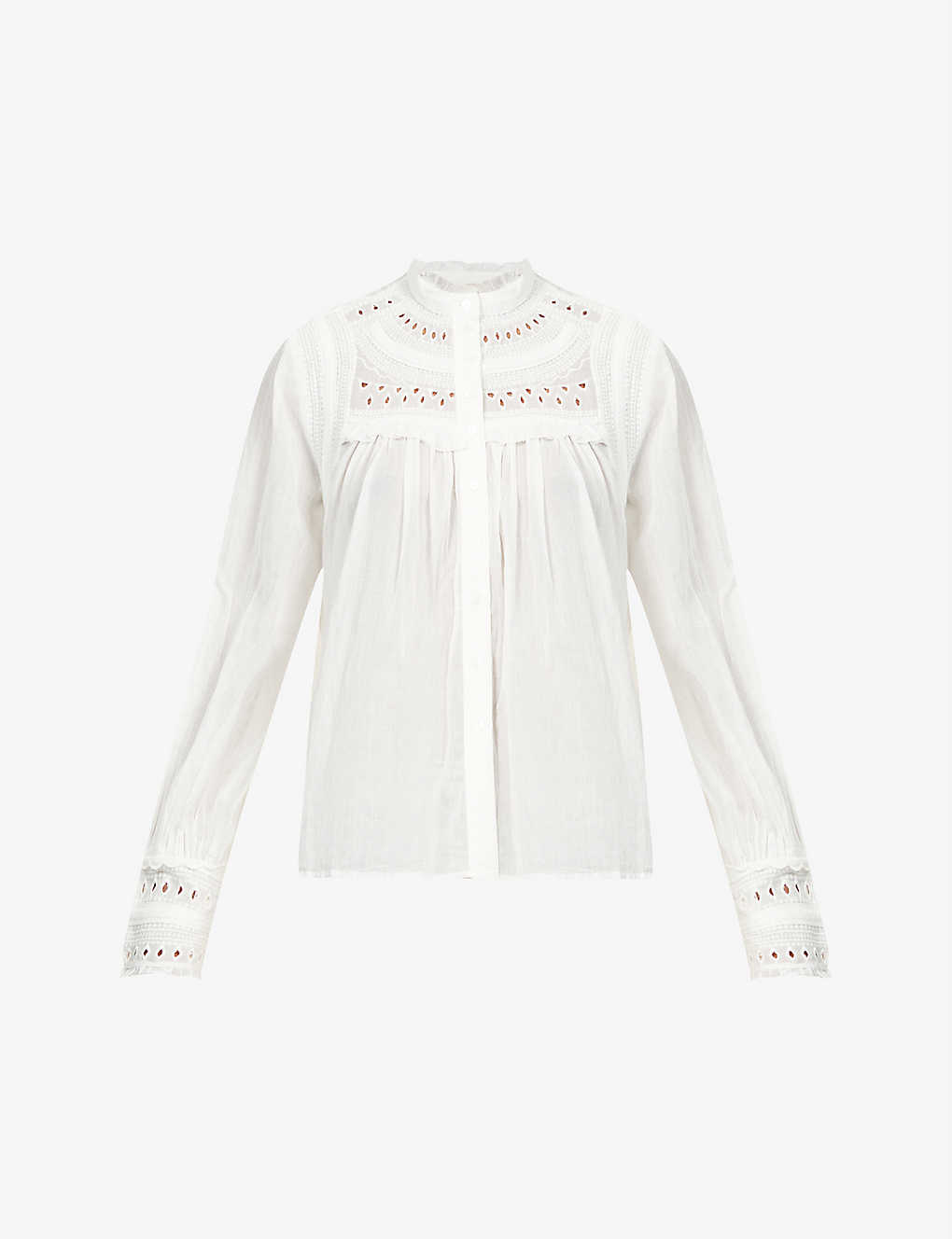 BA&SH: Leaf embroidered-print cotton shirt